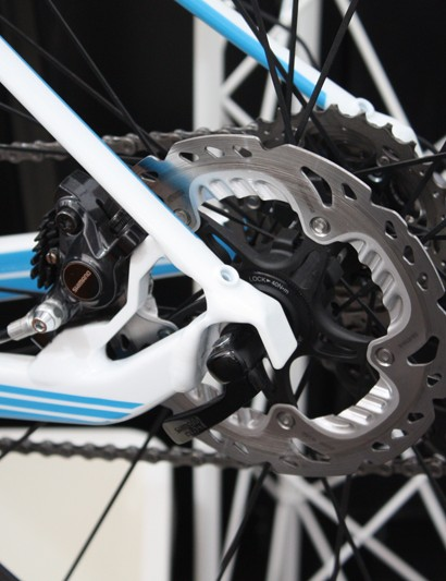 Shimano's hydraulic discs were on display, they're still far from a frequent sight on road machines