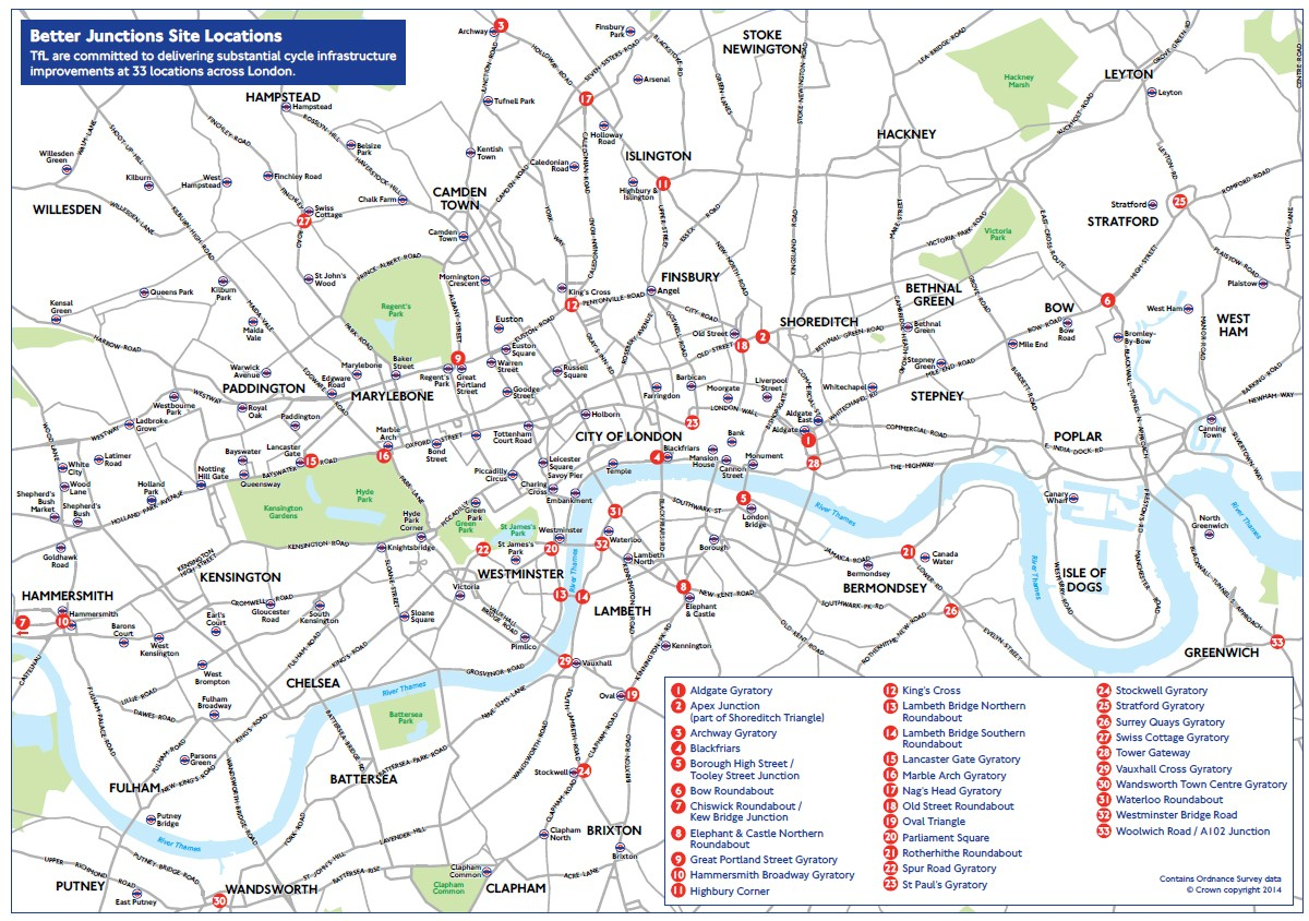 Thirty-three of London's most dangerous junctions are going to be redesigned with cycle safety in mind