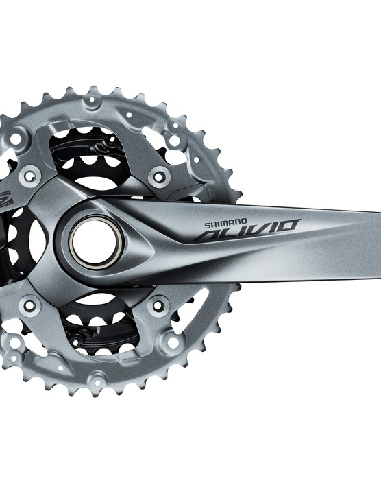 Shimano's Alivio FC-M4050 crankset with 40/30/22t gearing and Hollowtech bottom bracket