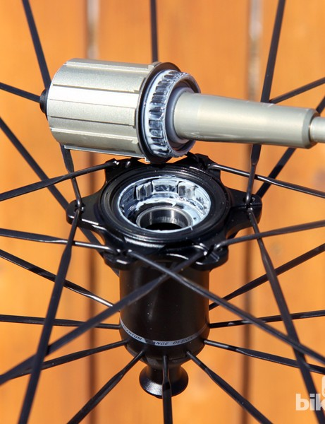 The freehub body and axle on Ritchey's new Phantom Flange rear hub can be instantly removed without tools