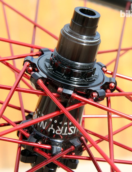 Allen heads broached into the end of each spoke should ease replacement in the event one breaks at the flange. Engagement speed on the rear freehub body is an ultra-quick three degrees