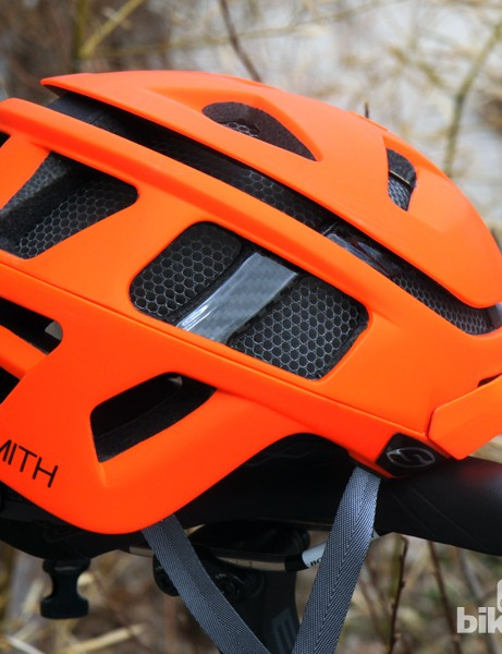 Instead of the standard expanded polystyrene foam liner, Smith Optics' new Forefront helmet uses a plastic honeycomb called Koroyd