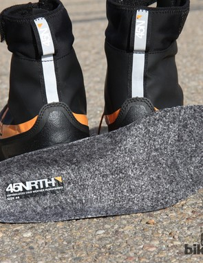 The included insoles add a surprising amount of warmth thanks to felted wool top surfaces and embedded aluminum to help reflect heat