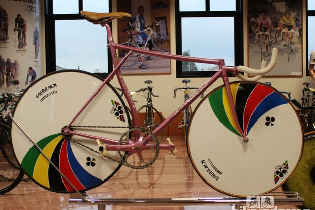 On the top floor of Colnago's headquarters, a museum houses dozens of historic bikes, including this 1980 Olympic champion track bike