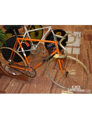 The 1972 machine of Eddy Merckx's hour-record ride. The Cannibal set a mark of 49.431km that stood for 12 years. Note the drilled handlebars