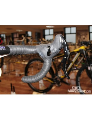 The shifters work similarly to Campagnolo, with one thumb lever and one index-finger lever