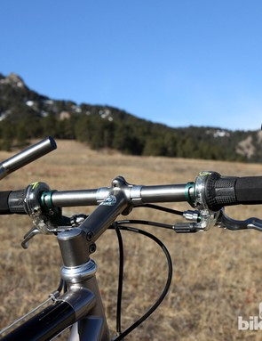 These custom titanium handlebars would seem outrageously narrow by modern standards. Since the bar ends were directly welded on to the handlebar, there's a split center section to alloy components to be installed