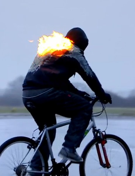 A cyclist on fire: an outtake from Top Gear's spoof cycle safety videos