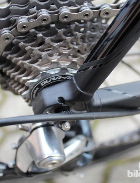 The one-piece dropout contributes some stability to the frame design, Fumagalli says