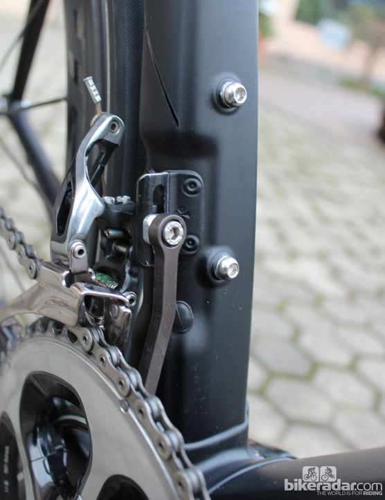 Colnago went as wide on the drive side as possible, too