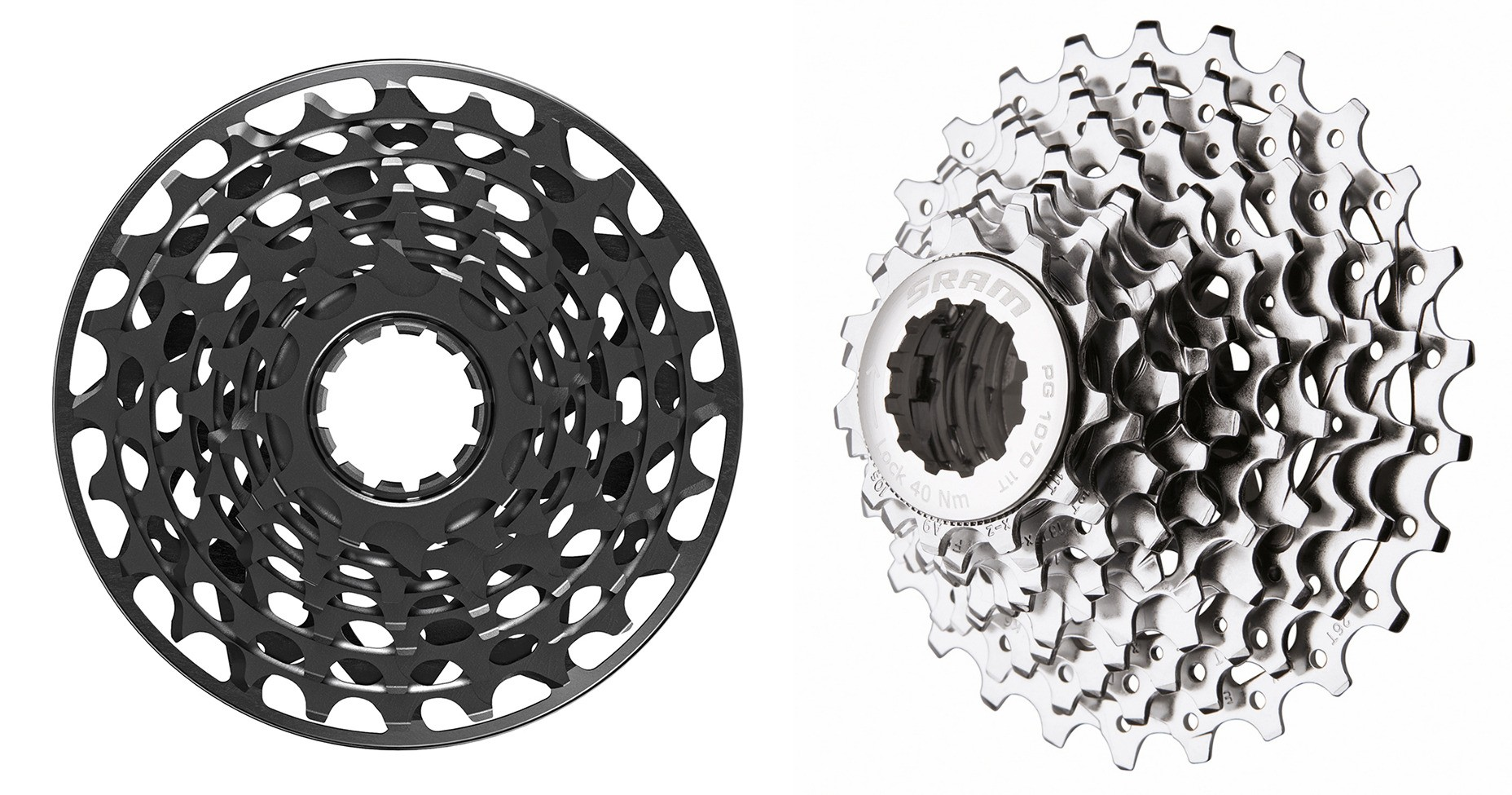 SRAM X01 DH 7-speed (l) and 10-speed (r) cassettes