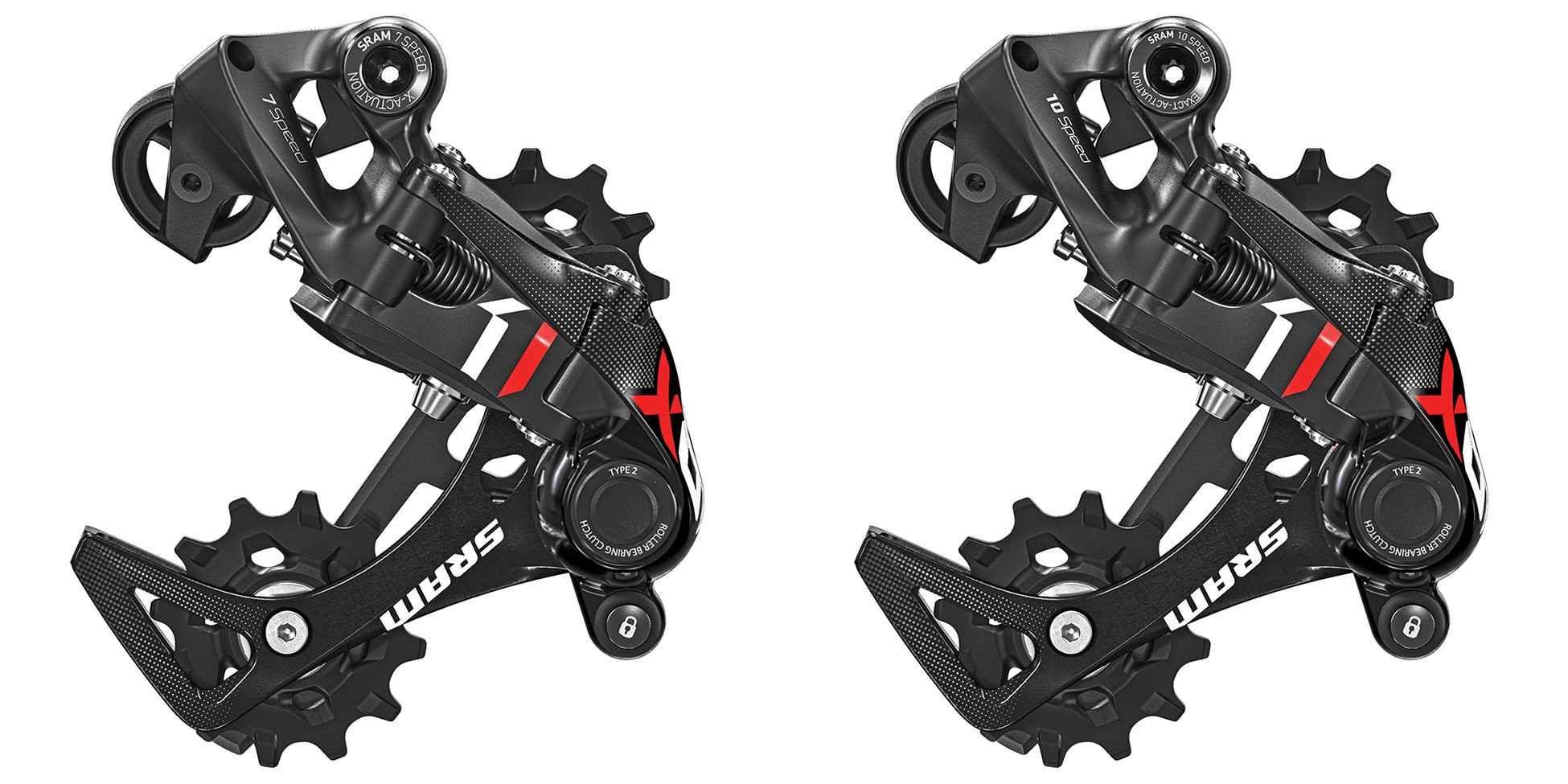 SRAM X01 DH 7-speed (l) and 10-speed (r) derailleurs