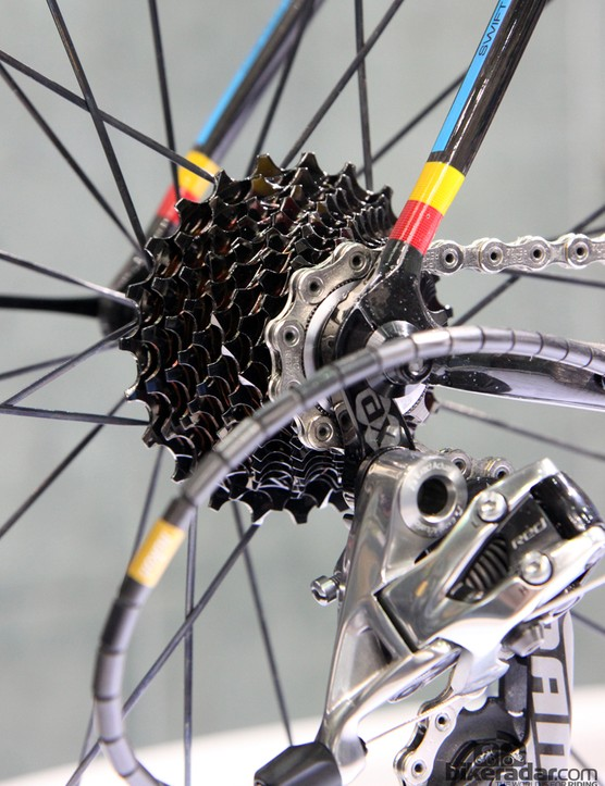 The ultralight build on display included a machined aluminum cassette from Recon