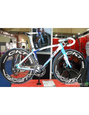 CKT also have a new road disc bike - the 398-D. Again underneath a multitude of logos their lurks a decent looking frame