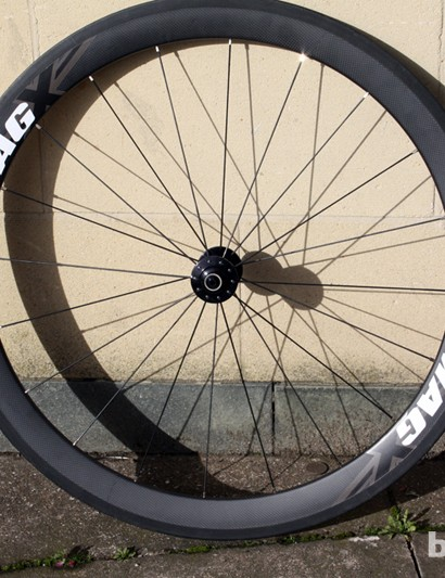 The 50mm clincher rim is radially laced to Hope's RS Mono front hub