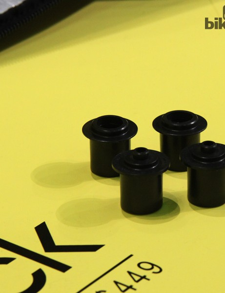 Biknd includes adapter caps for the most common axle types