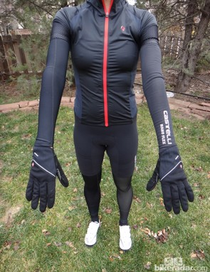 Pearl Izumi arm warmer at left (on model's right arm) and Castelli at right