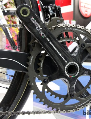 The new Campagnolo Super Record RS crankarms feature only a graphic change. The chainrings have apparently been reshaped, however, for faster shifting under power