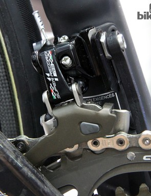 The tweaked Campagnolo Super Record RS front derailleur is said to include a stiffer cage than the standard version