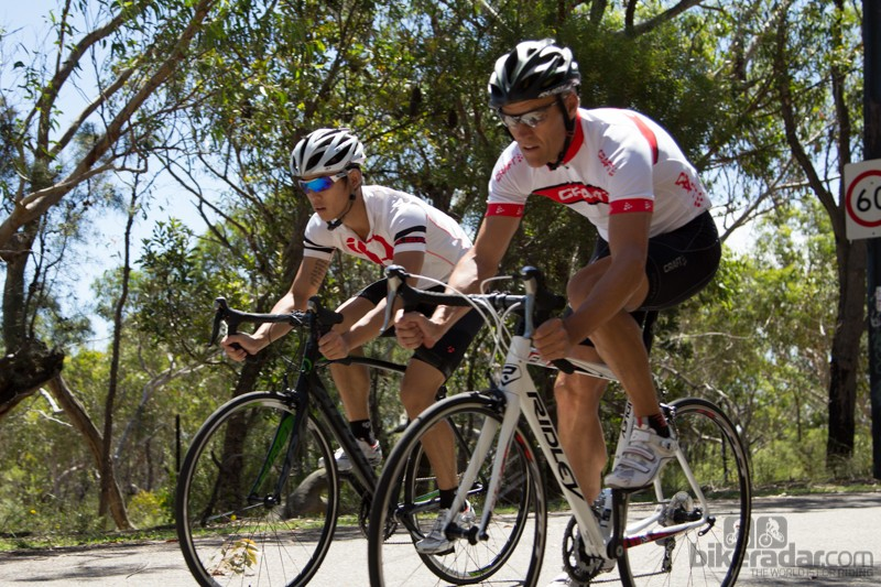 Two of our test riders - Matt Hoon and Derek Mollison - put the entry-level road bikes through their paces
