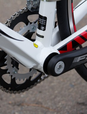 The Ridley Fenix frame features triple-butted aluminium, which has been hydroformed to these radical shapes, boosting stiffness without weight increase
