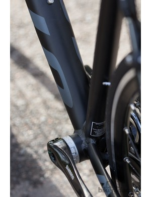 The downtube is a weird sausage shape, tapering to a smaller diameter at the weld points