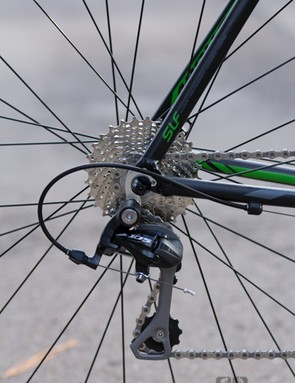 The Shimano 105 rear derailleur is unusually long - this may be a blessing in disguise if you ever feel you need a wider range of gears (such as a 32T at the back instead of the stock 28T)