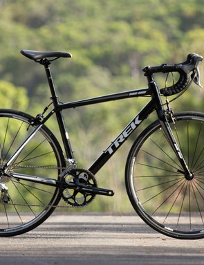 The Trek 1.5 is just about all blacked out - we really wanted to love this bike, but the brakes just scared us