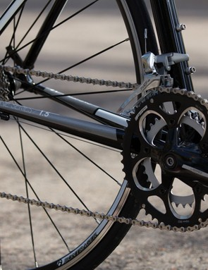 The Trek's FSA square taper crank had enough flex to allow the chain to rub in certain gears. All the other bikes tested feature more modern crank designs