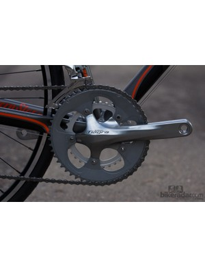 The Shimano Tiagra crankset shifts well and will prove durable