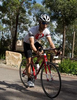 Matt Hoon leans the Merida Ride 93 into a corner
