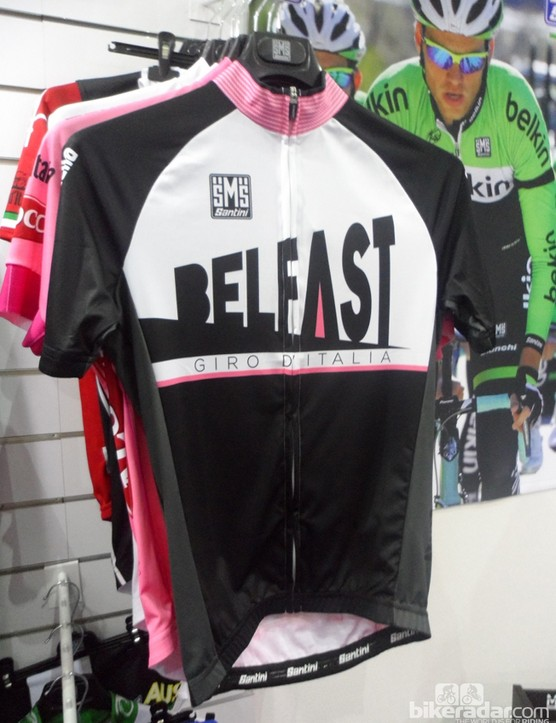 Santini's Belfast jersey celebrates the Giro's start. The front graphic harks back to the early twentieth century and Art Deco when Belfast's shipyards built some of the world's most celebrated sealiners - such as the Titanic
