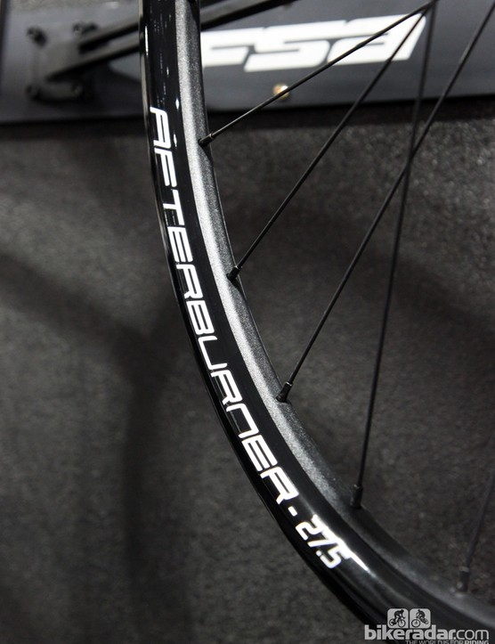 FSA will also have an Afterburner-level 27.5in wheelset, built with aluminum rims