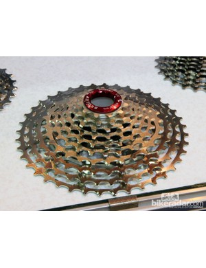 This SEQ Lite mountain bike cassette uses a mix of aluminum, titanium, and steel cogs to decrease weight while still maintaining a modicum of durability. The 11-40T spread offers more range than is currently available with most 10-speed cassettes, too