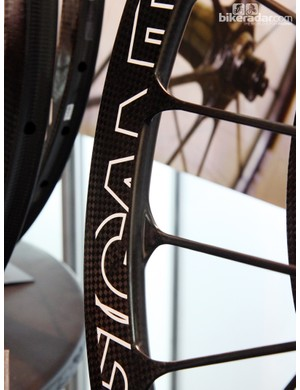 Carbon spokes are molded directly as part of the rim on these Gigantex wheels