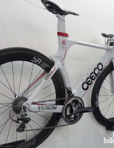 Ceepo's Venom tri bike strangely fills its graphics with measurements of the bike - great for the data obsessed, we guess