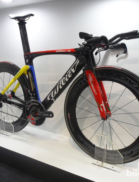 The great-looking Wilier Twin Blade TT bike looks the business in Team Colombia colours