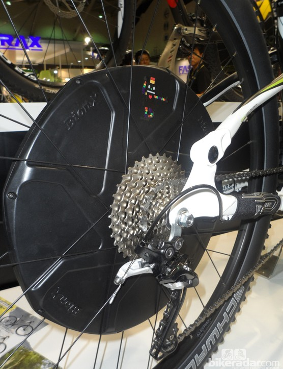 Wheeler showed a new full-sus e-bike with a central mounted battery and a large Bion-X rear wheel-mounted motor