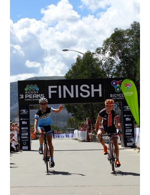 First and second finishers of the SCODY 3Peaks Challenge – Stephen Cunningham, right, and Alex Davies crossing the line at Falls Creek