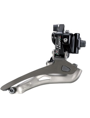 The Campagnolo Super Record RS front derailleur has been tweaked for improved mechanical shifting