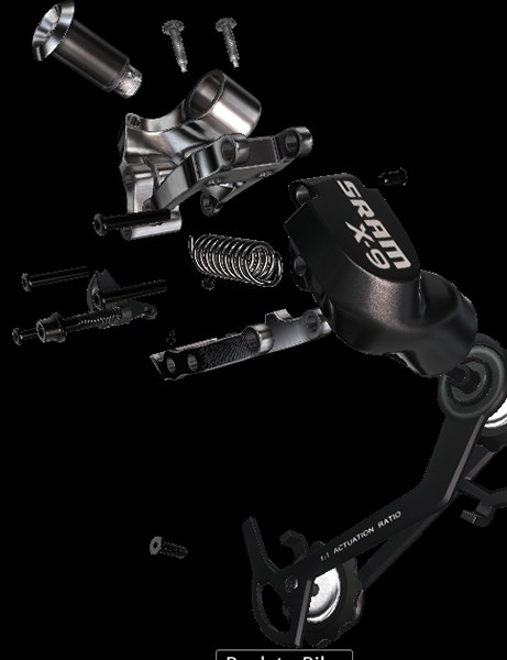 SRAM's X9 rear derailleur is modelled in exceptional detail