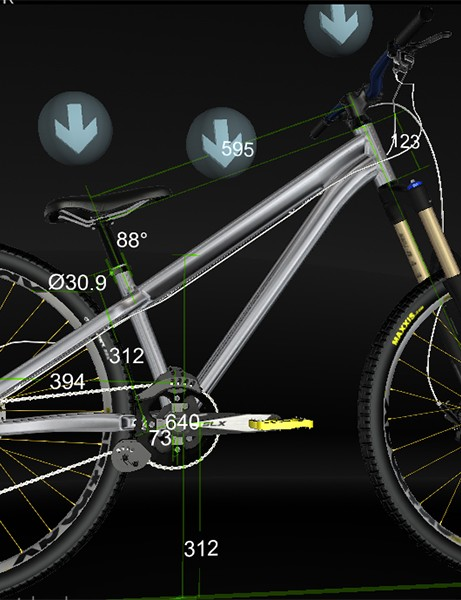 The configurator can also display geometry information that alters as you cycle the fully working suspension