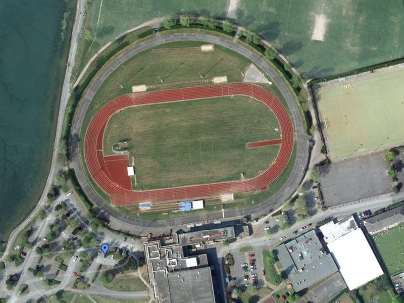 The large tarmac oval of the Mountbatten Centre closed circuit track in Portsmouth