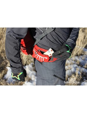 The two zippered waist pockets are large enough to carry a couple energy bars, a phone or a point-and-shoot camera