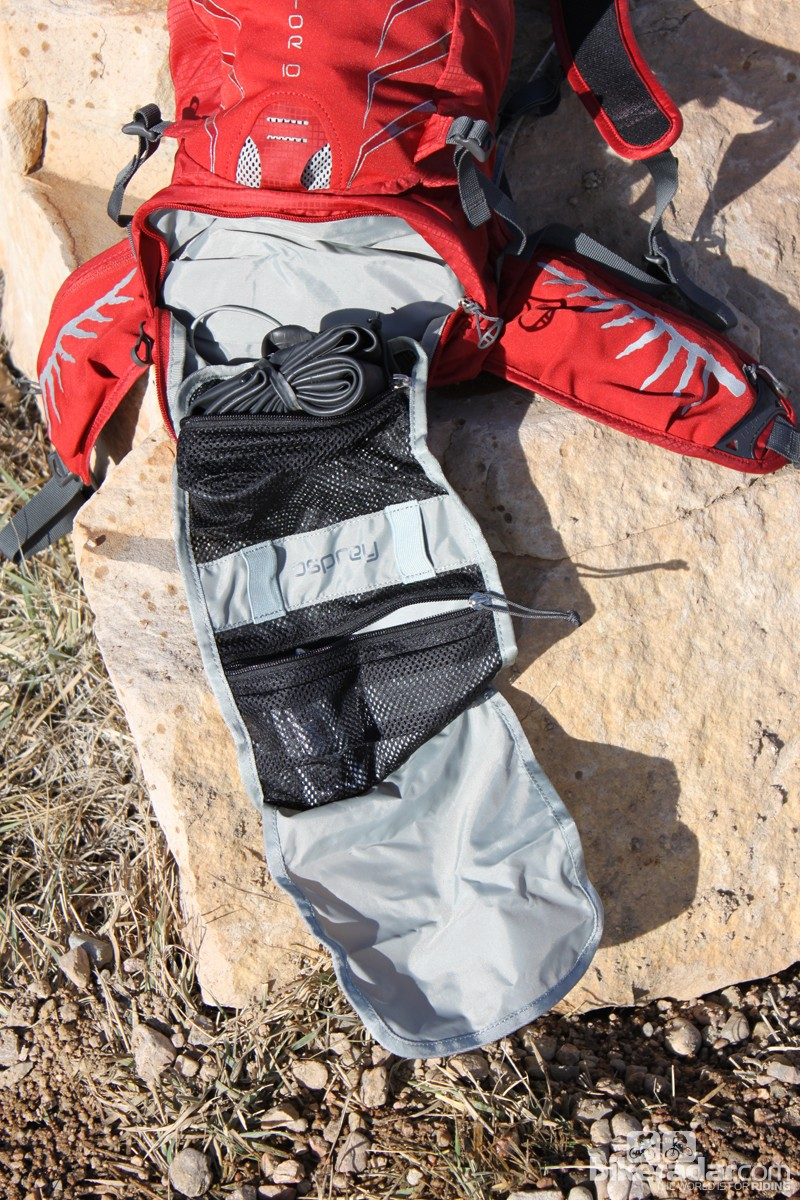 The separate tool compartment is a good idea, though the fact that it's too small to carry essentials such as a shock pump and most handpumps means you'll still need to unzip the main compartment for many trailside repairs