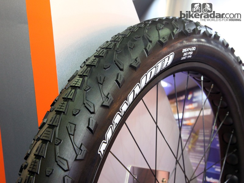 Maxxis is no longer content to let the fat bike craze pass it by. New for the coming season is the 26x4in Mammoth, which will be available with folding beads in both 60tpi and 120tpi versions around June