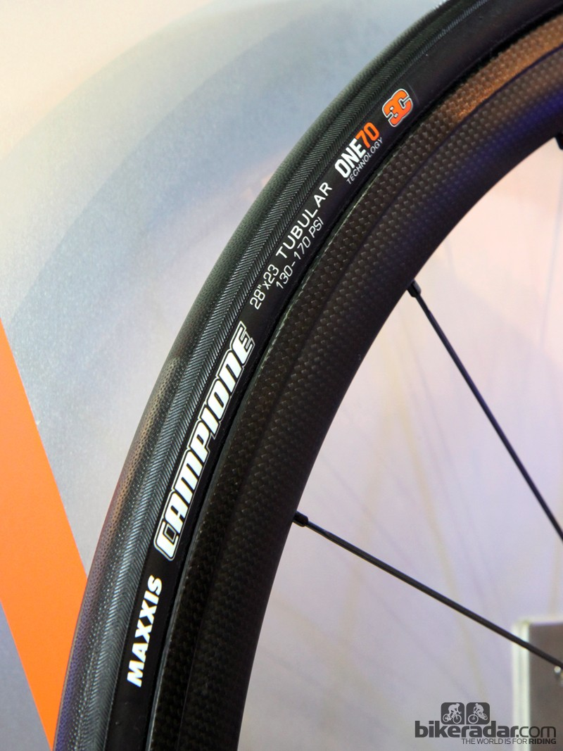 Maxxis is moving the Campione tubular tyre upscale for 2015. Maxxis will offer three versions: a 285g, 25mm wide one with a 120tpi casing and dual-layer puncture protection; a 245g, 23mm wide version with single-layer protection and a 170tpi casing; and the top-end 220g, 23mm wide version with a 170tpi casing and no additional puncture protection