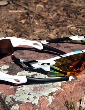 Some buyers might not identify the seafoam colors with old Oakley models but they could certainly still find the retro-themed Heritage Collection Radar (left) and Radarlock (right) appealing nonetheless