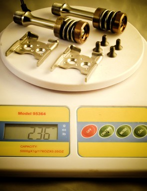 The claimed weight for the Infinity Pedal system with stainless steel axles is 236g (with cleats). The claimed weight for a version with titanium spindles is even lighter – 190g