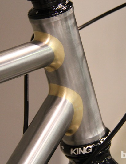 Ellis Cycles' Dave Wages opted to leave the frame bare (no clearcoat, just a light layer of WD40 to keep oxidation at bay) to enter it in the Best Fillet Brazing category